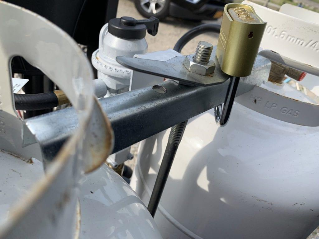 Propane Tanks With Padlock Closeup